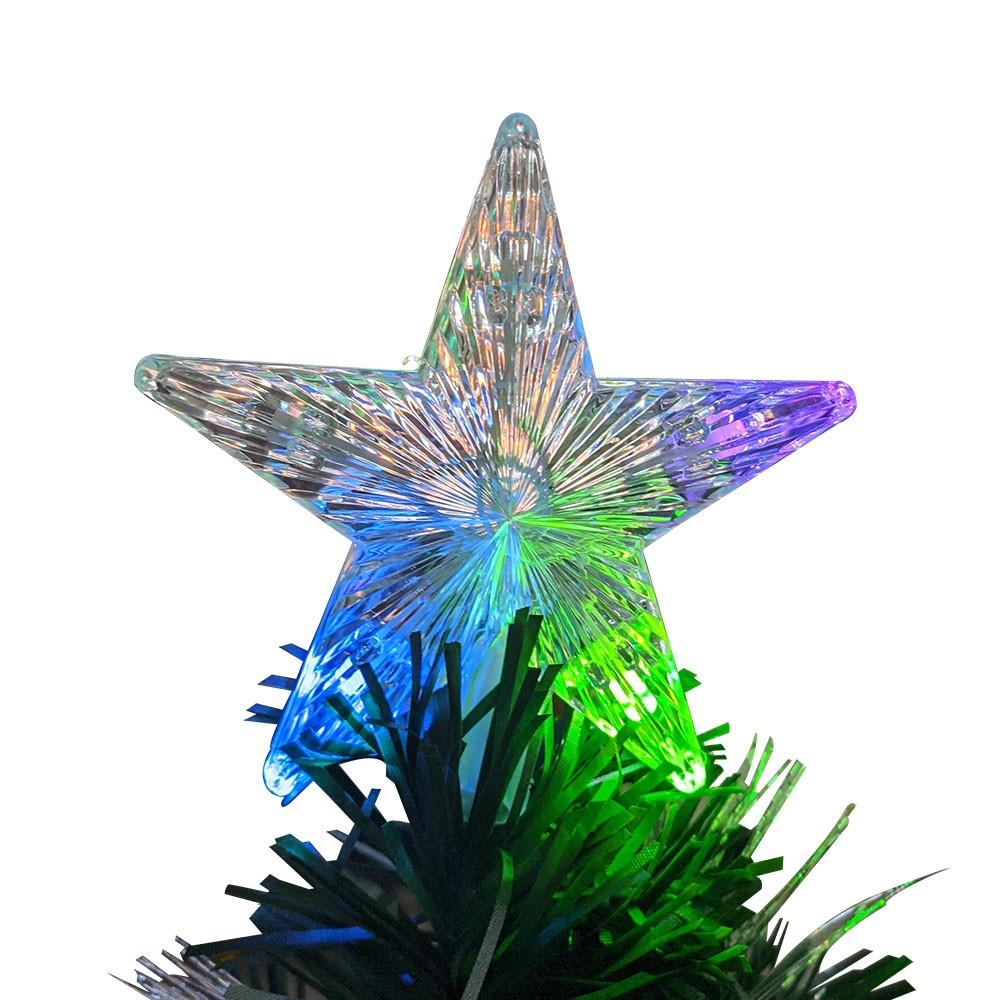 Arvore de Natal Fibra Otica Natalino 1 metro 50cm Decoração Estrela Led Colorido 170 Galhos