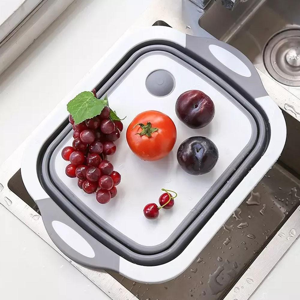 Bacia Escorredor Silicone Retratil 3 em 1 Bandeja Dobravel Tabua de Corte Cesto Multiuso Cozinha Casa