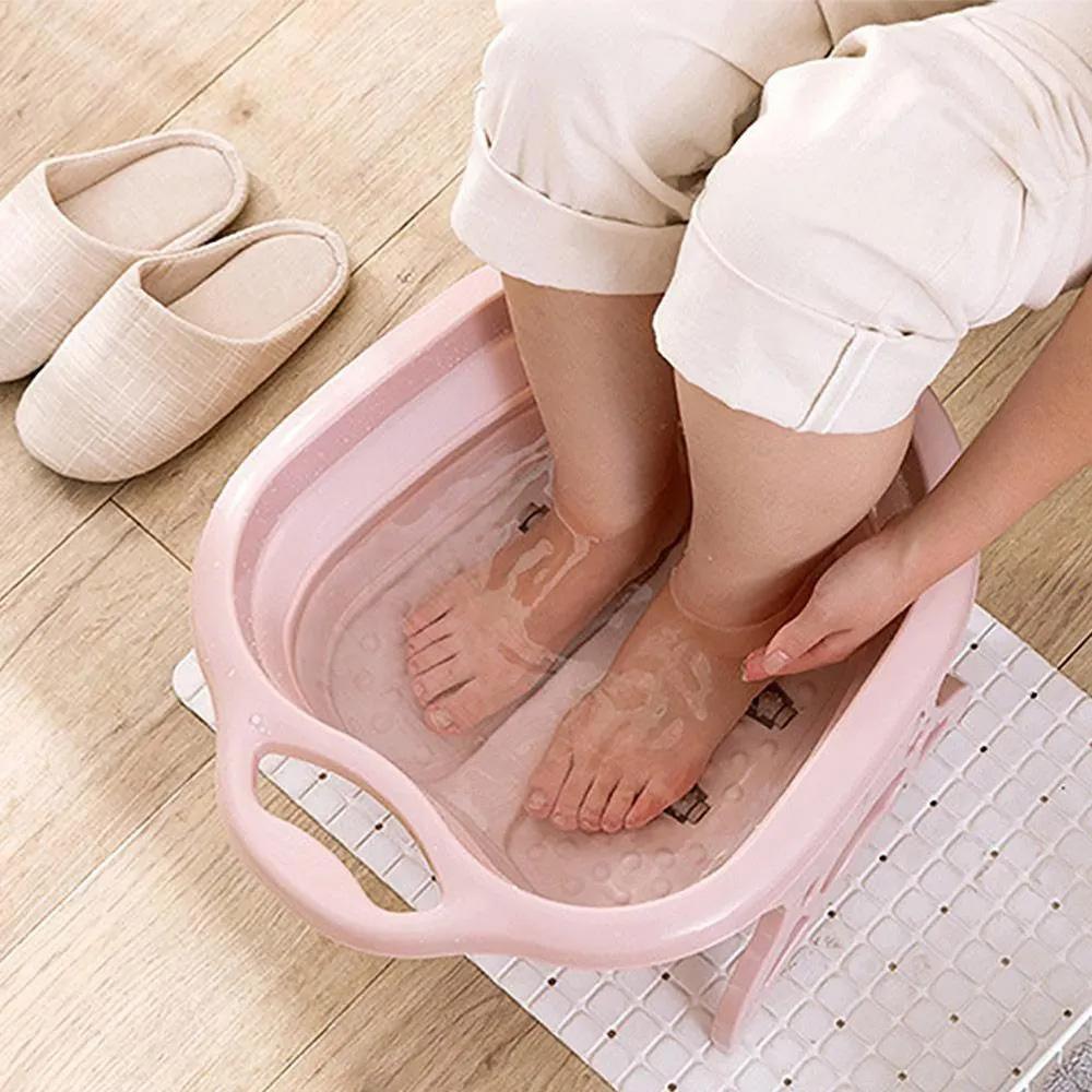 Bacia Massageadora Dobravel Pés Pedicure Portátil Banheira Relaxamento Massagem Spa