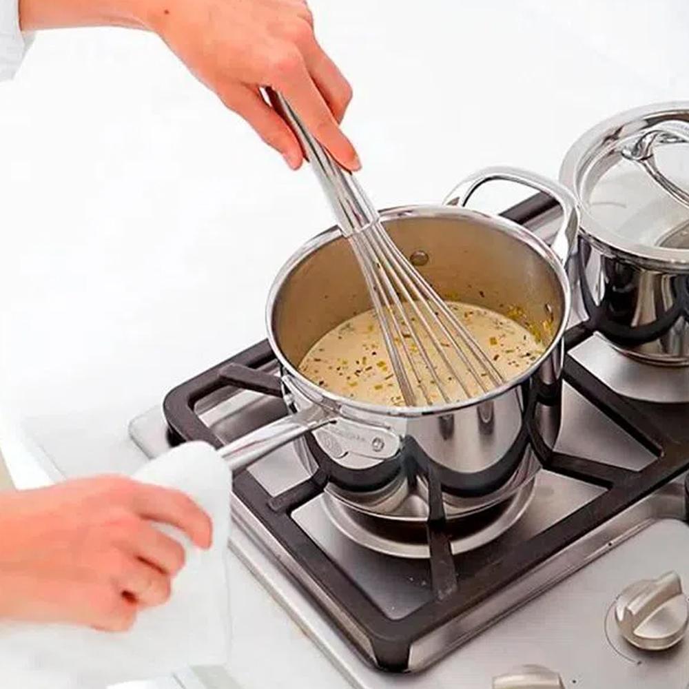 Batedor Fouet Manual Misturador Ovos Clara em Neve Massas Bolo Fue Regulavel Aço Inox Profissional Confeitaria Cozinha