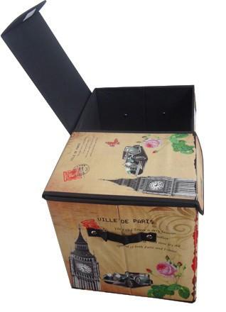 Bau Porta Treco Dobravel Vintage Retro Para Guardar Volume Estampado Big Ben (PF-16)