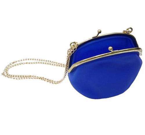 Bolsa De Silicone Com Corrente Tiracolo Dourada Retro Kit 20 Und Azul (BL-2662-6)