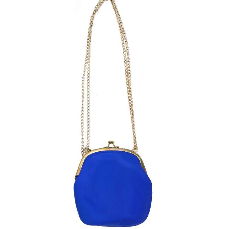 Bolsa De Silicone Vintage kit 6 uni Azul Com Dourado Tiracolo
