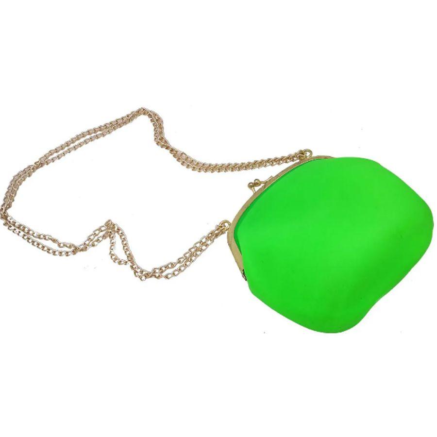 Bolsa De Silicone Vintage kit 6 uni Verde Com Dourado Tiracolo
