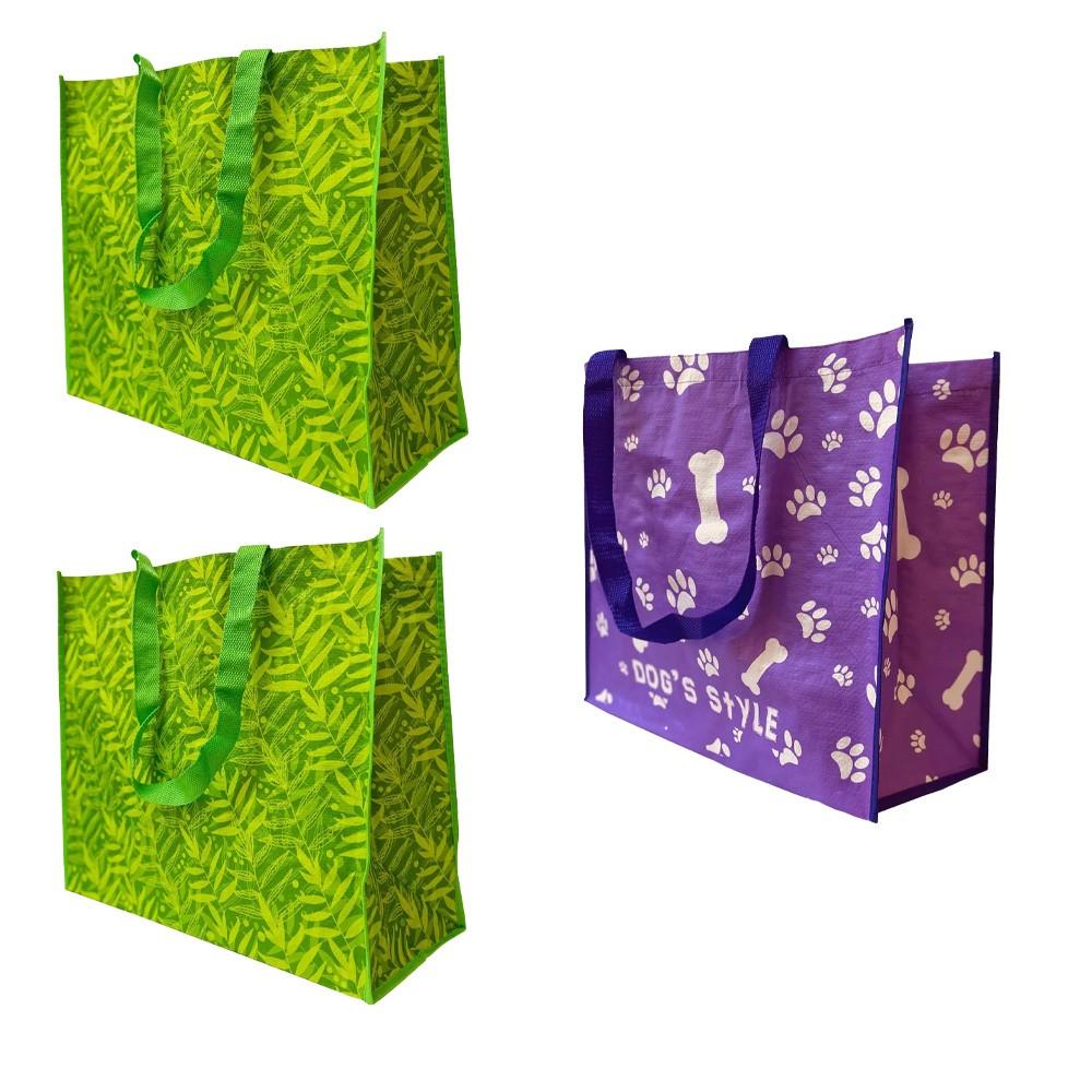 Bolsa Ecobag Ecologica Sacola de Ombro Reutilizavel Dobravel Compras Mercado Retornavel Kit 3 Uni