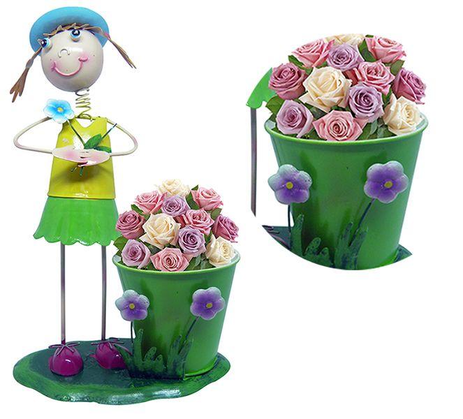 Boneca De Ferro Para Enfeite e Decoraçao Jardim e Flores Novidade (BON-M-17 MENINA)