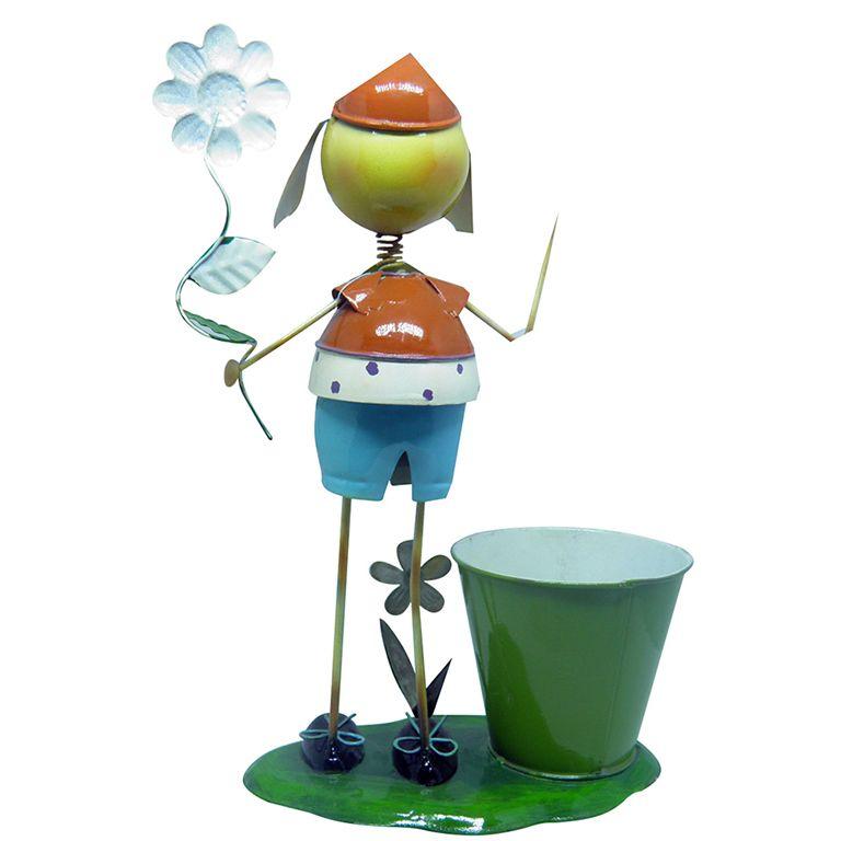 Boneco De Ferro decorativo Menino Para Enfeite Flores e Jardim (BOM-M-19)