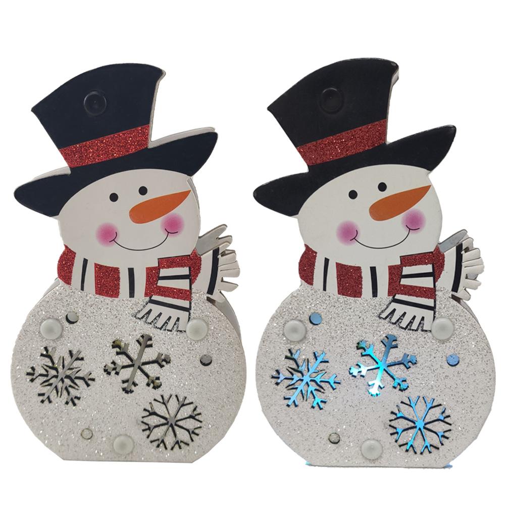 Boneco de Neve Natalino Decoraçao Enfeite Arvore Mesa Natal Led Flocos de Neve