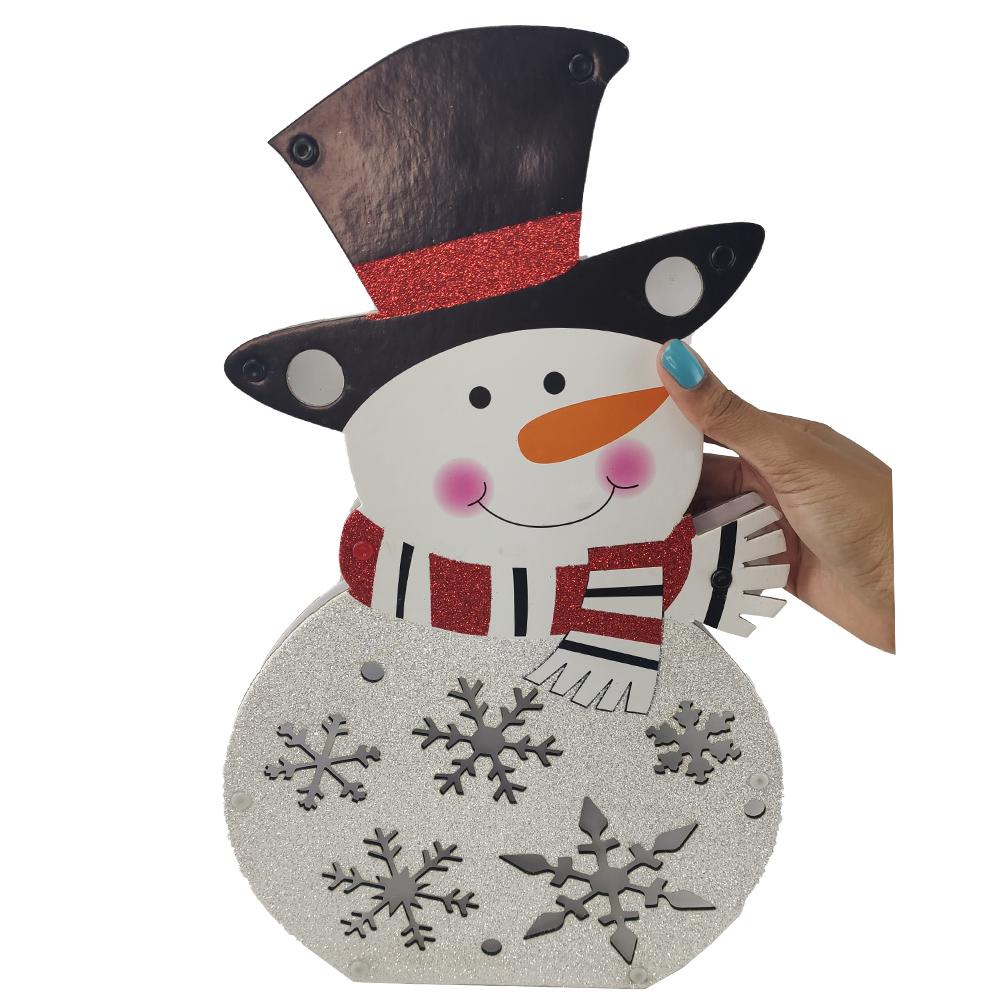 Boneco de Neve Natalino Led Chao Parede Natal Enfeite Flocos de Neve Decoraçao