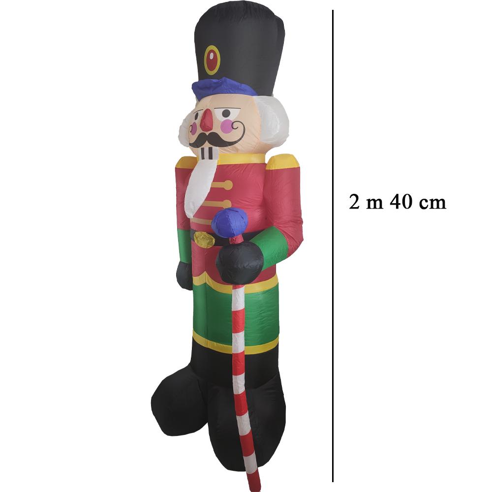 Boneco Quebra Nozes Natal Inflavel Gigante 2m40cm Natalino Led Decoraçao