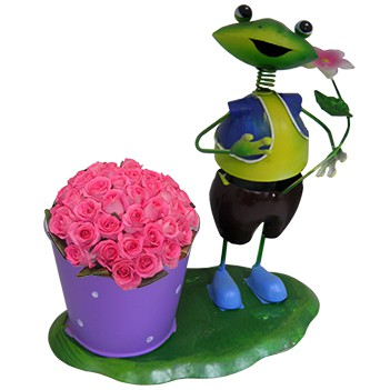 Boneco Sapo com Balde de Flor Para Enfeite e Decoraçao de Jardim (BON-P-3)