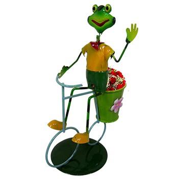 Boneco Sapo com Bicicleta de Ferro Para Enfeite e Decoraçao de Jardim (BON-M-14)