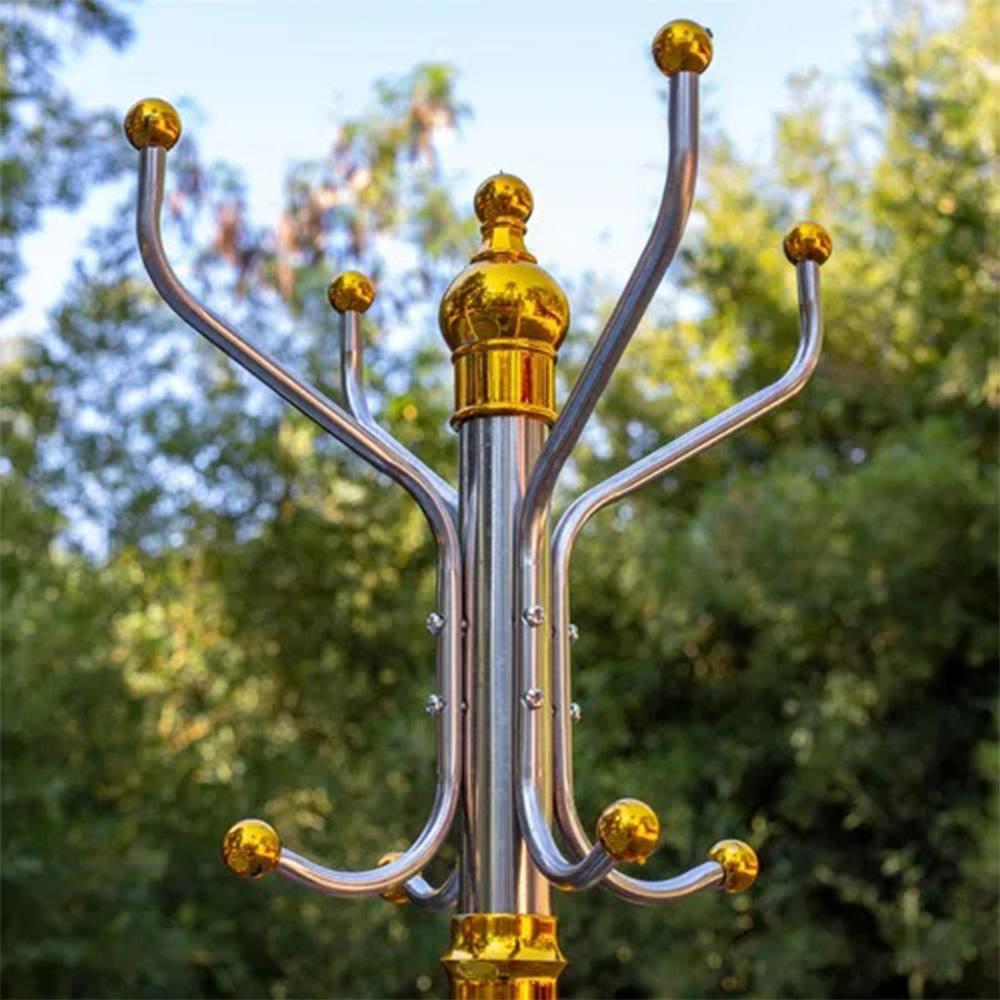 Cabideiro de Chão Aço Inox Cabide Porta Casaco Bolsa Organizador 16 ganchos Casa Quarto Roupas Pendurar Sala