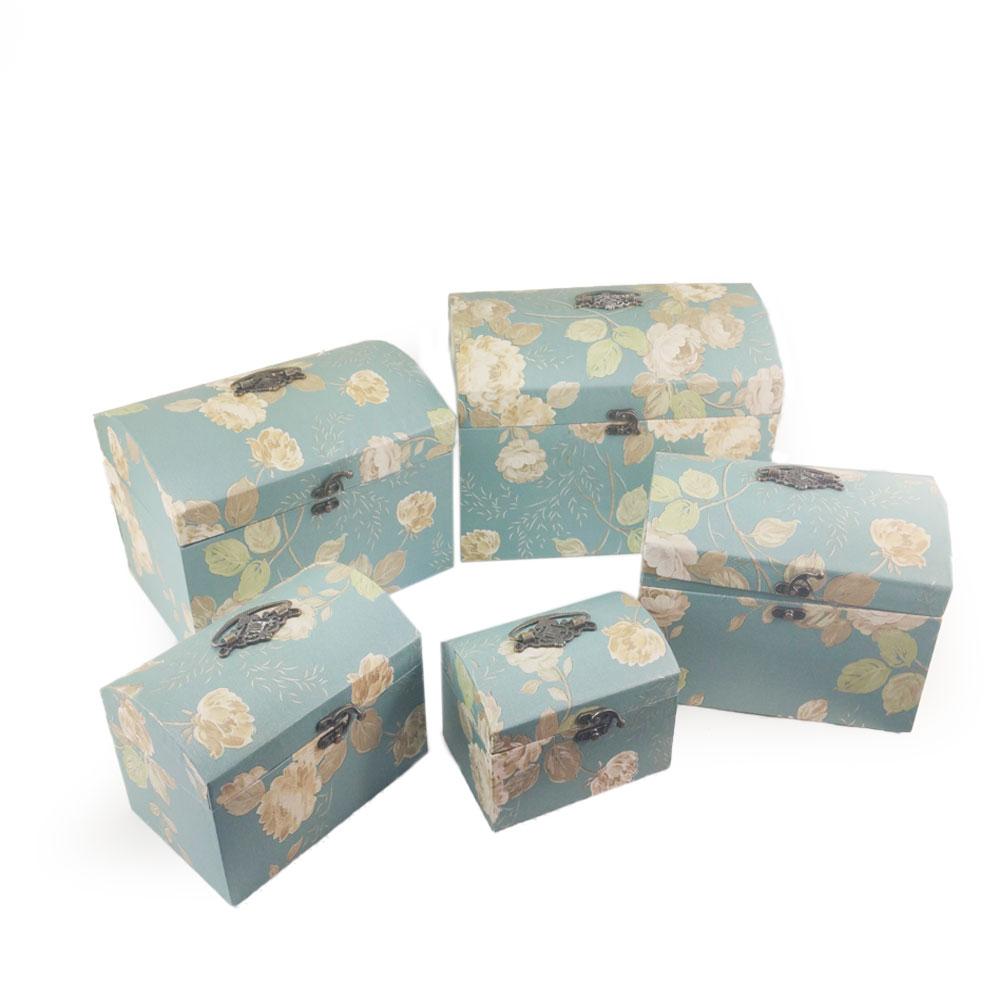 Caixa Bau Conjunto 5 pecas Floral Organizador Texturizado Alça Multiuso Fecho Guarda Bijuteria Joia Presente