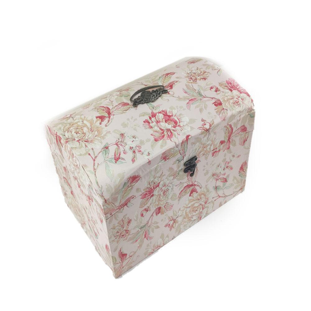 Caixa Bau Conjunto 5 pecas Rosa Floral Vintage Organizador Texturizado Porta Treco Guarda Joia