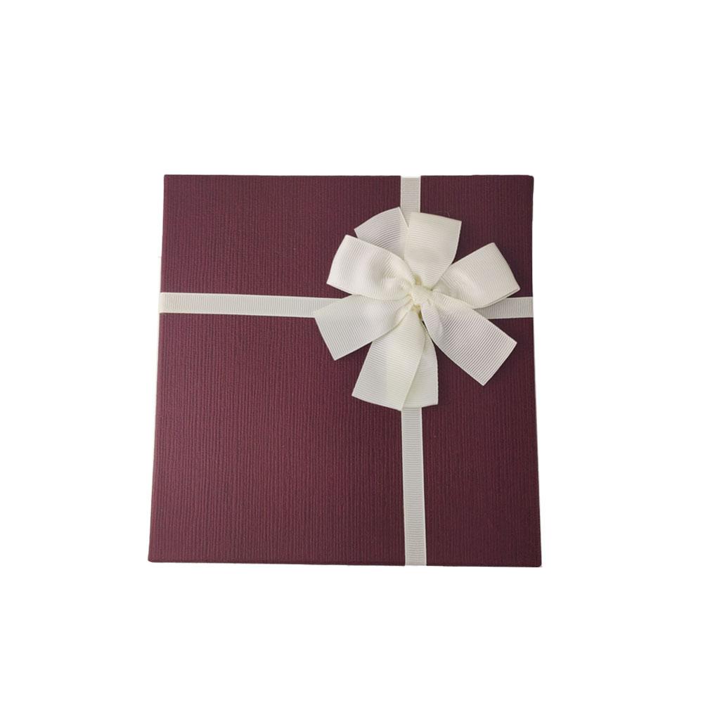 Caixa Presente Papel Cartao Texturizado Aniversario Kit 3 pecas Festa Evento Tampa Laco Branco