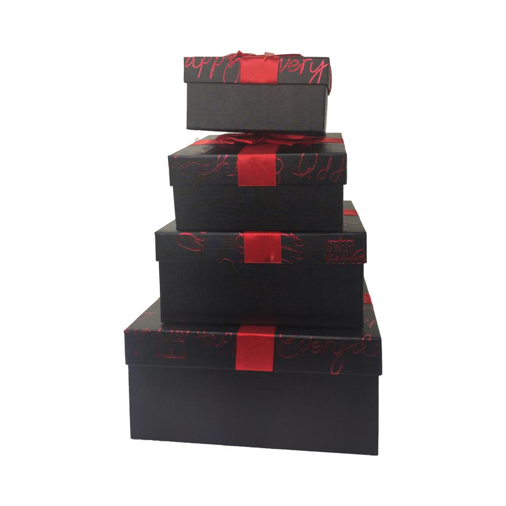 Caixa Presente Rigida Com tampa Texturizada Laço Conjunto kit 4 caixas Aniversário