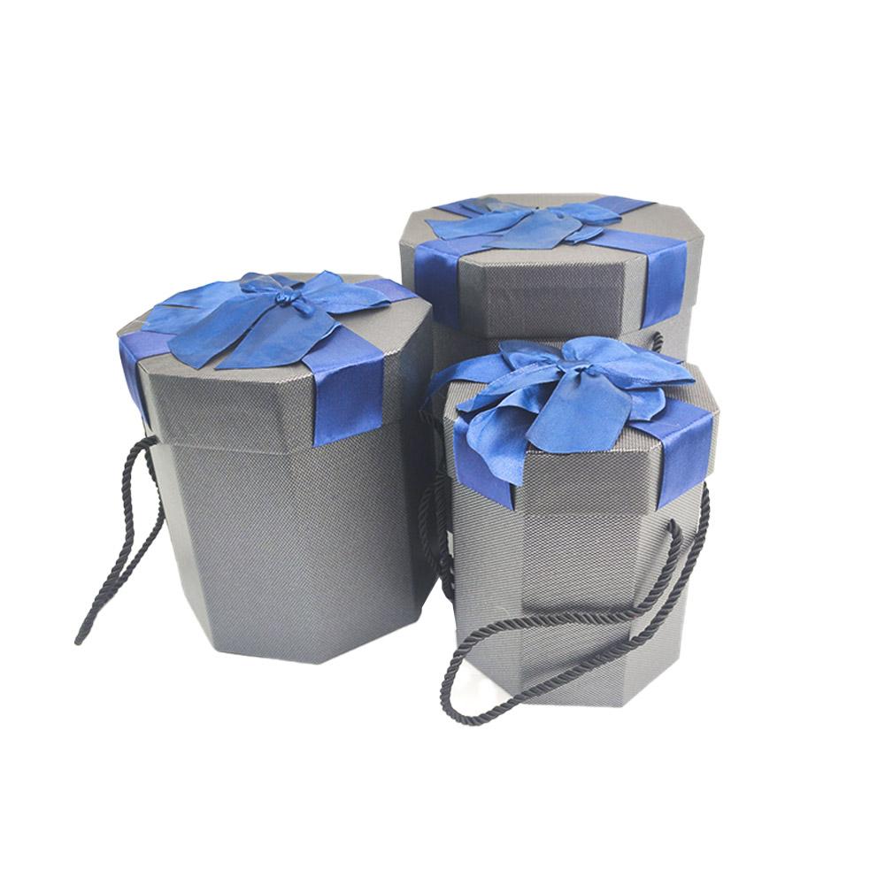 Caixa Presente Rigida Texturizada Com Alca tampa Laco 3 Caixas Octagonal Alta Festas Eventos
