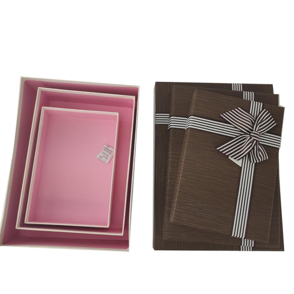 Caixa Presente Rigida Texturizada com Tampa Laco etiqueta Luxo Kit 3 Caixas Surpresa