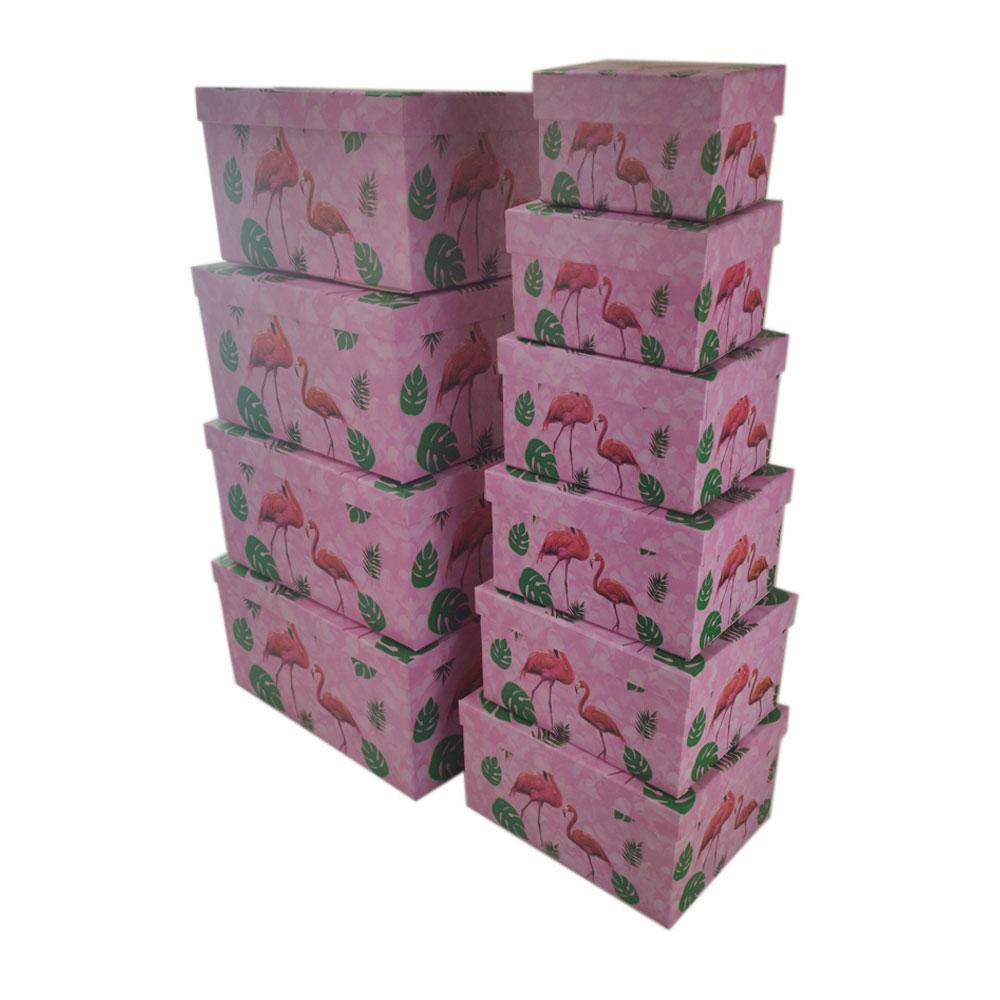 Caixas Presente Rigida Conjunto 10 Peças Tampa Flamingo Organizador Festa Aniversario Evento