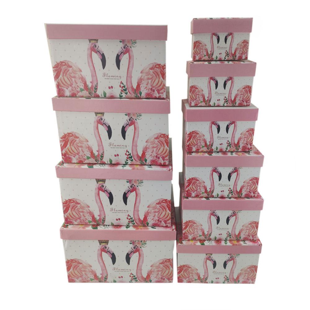 Caixas Presente Rigida Kit 10 Peças Flamingo Organizador Festa Aniversario Evento Comemorativa