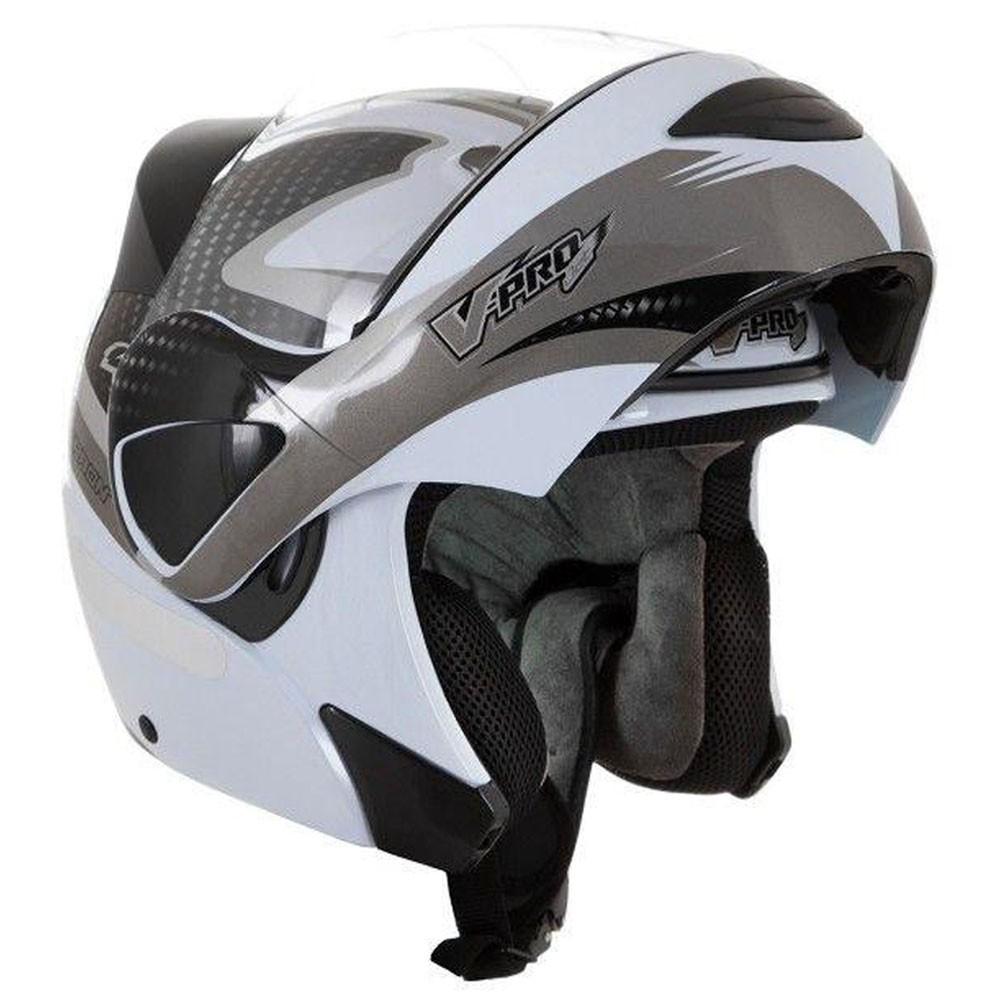 Capacete Escamotiavel Moto Carbon VPro Jet 2 Branco Acessorios Motocicleta(VPRO JET2)