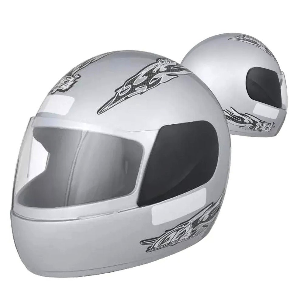 Capacete Fechado Moto Pro Tork Prata Racing Motocicleta Motoqueiro