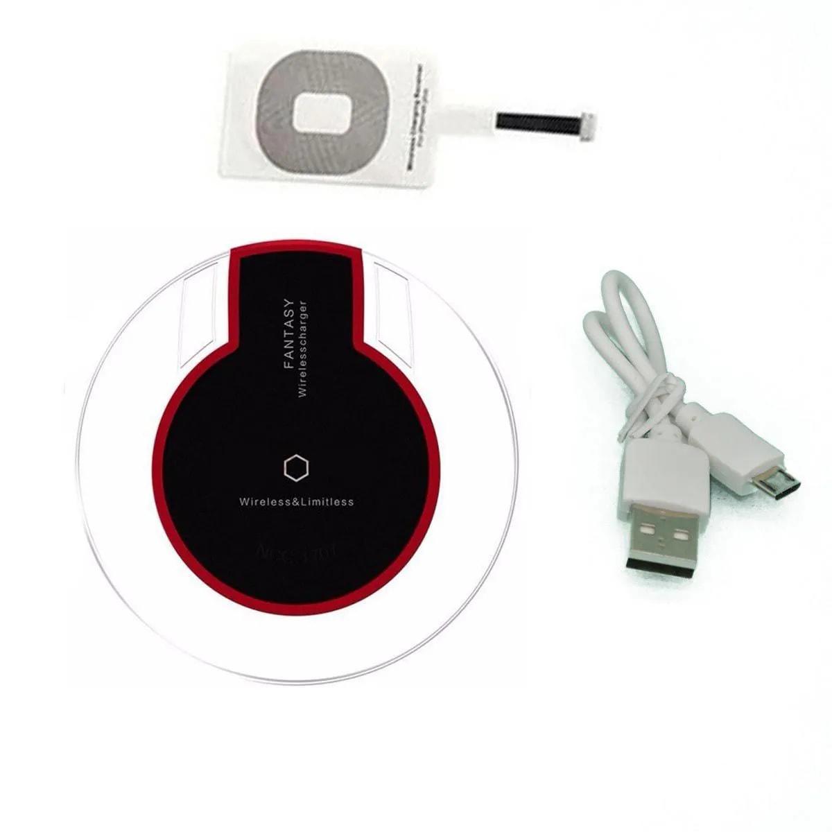 Carregador inducao Sem Fio Wireless Qi para Iphone IOS Kit 7