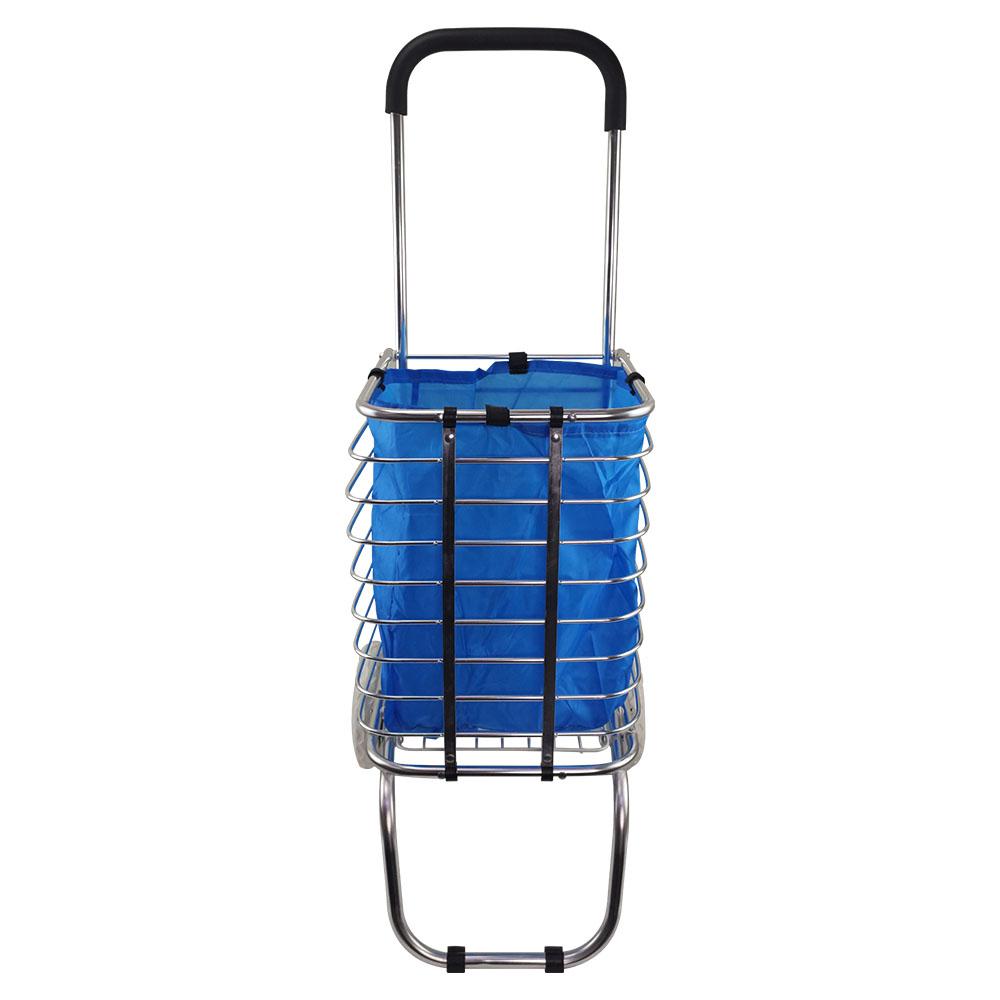 Carrinho de Mão Dobravel com Sacola Aluminio Feira Compras Portatil Transporte