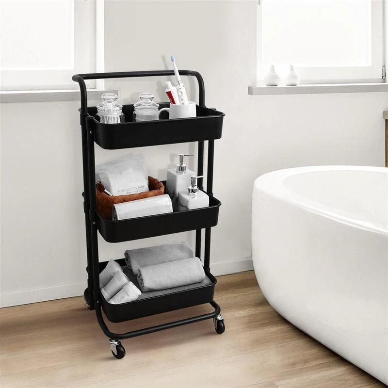Carrinho Organizador  3 Andares Rack Salao de Beleza Casa Quarto Banheiro Rodas