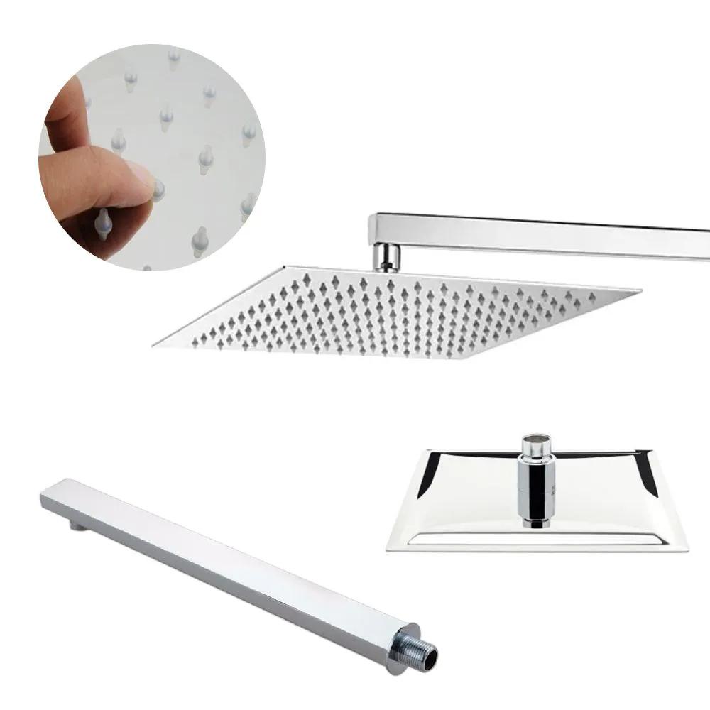 Chuveiro Inox Quadrado Slim Suporte Braço Ducha Banheiro Cromada Banho