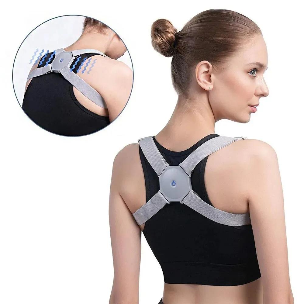 Colete Corretor Postura Costas Coluna Com Sensor Inteligente Ajustavel