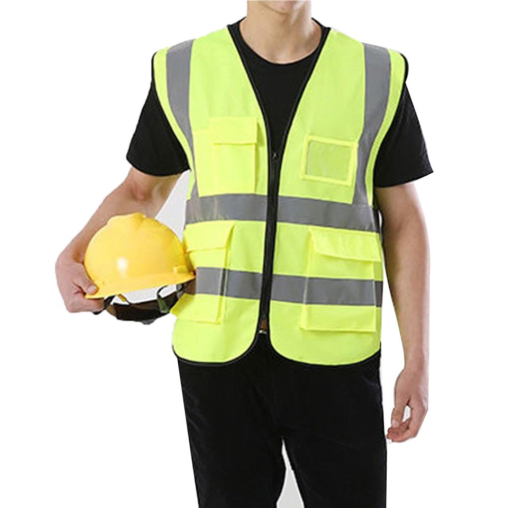 Colete faixa Sinalizador Refletivo Segurança Trabalho EPI Blusao Fluorescente Obra Bolsos