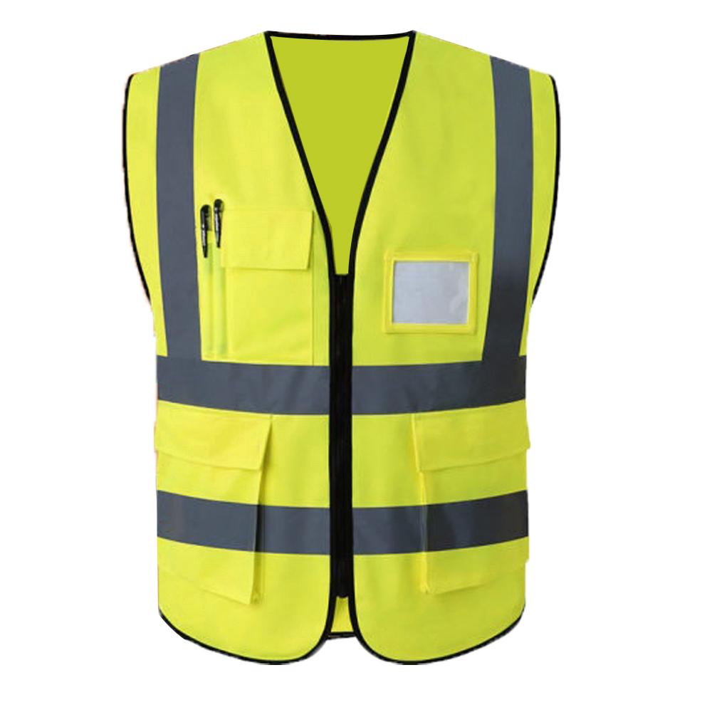 Colete faixa Sinalizador Refletivo Segurança Trabalho EPI Blusao Fluorescente Obra Bolsos Ziper