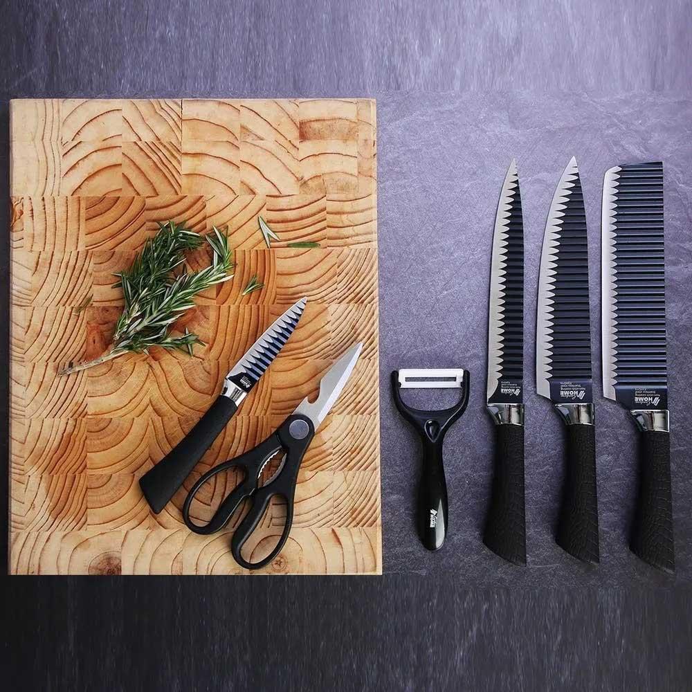 Conjunto de facas Revestimento Antiaderente Aço Inox 6 Peças Design Ergonômico Cozinha Cabos soft touch Borracha Texturizada