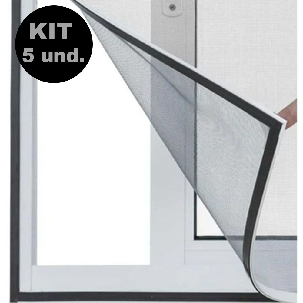 Tela Cortina Mosquiteiro Dengue Magnetico Janela Facil Instalação Kit 5 Uni Proteçao Casa