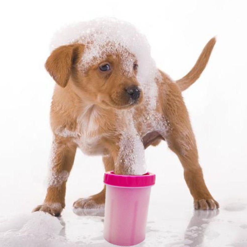 Copo Limpador Limpa Cachorro Patas Rosa Patinhas Pet Banho