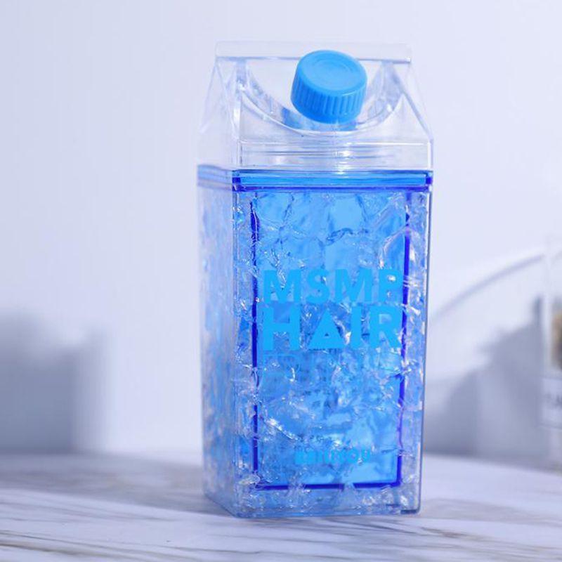 copo squeeze Garrafa Gel congelante canudo bico Azul 400ml