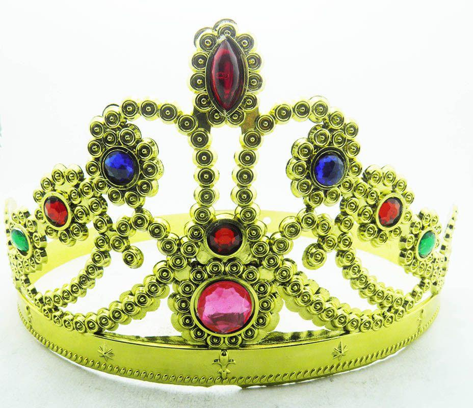 Coroa Tiara Bloco Carnaval Dourado Festa Fantasia Princesa Infantil (BSL-2653-4)