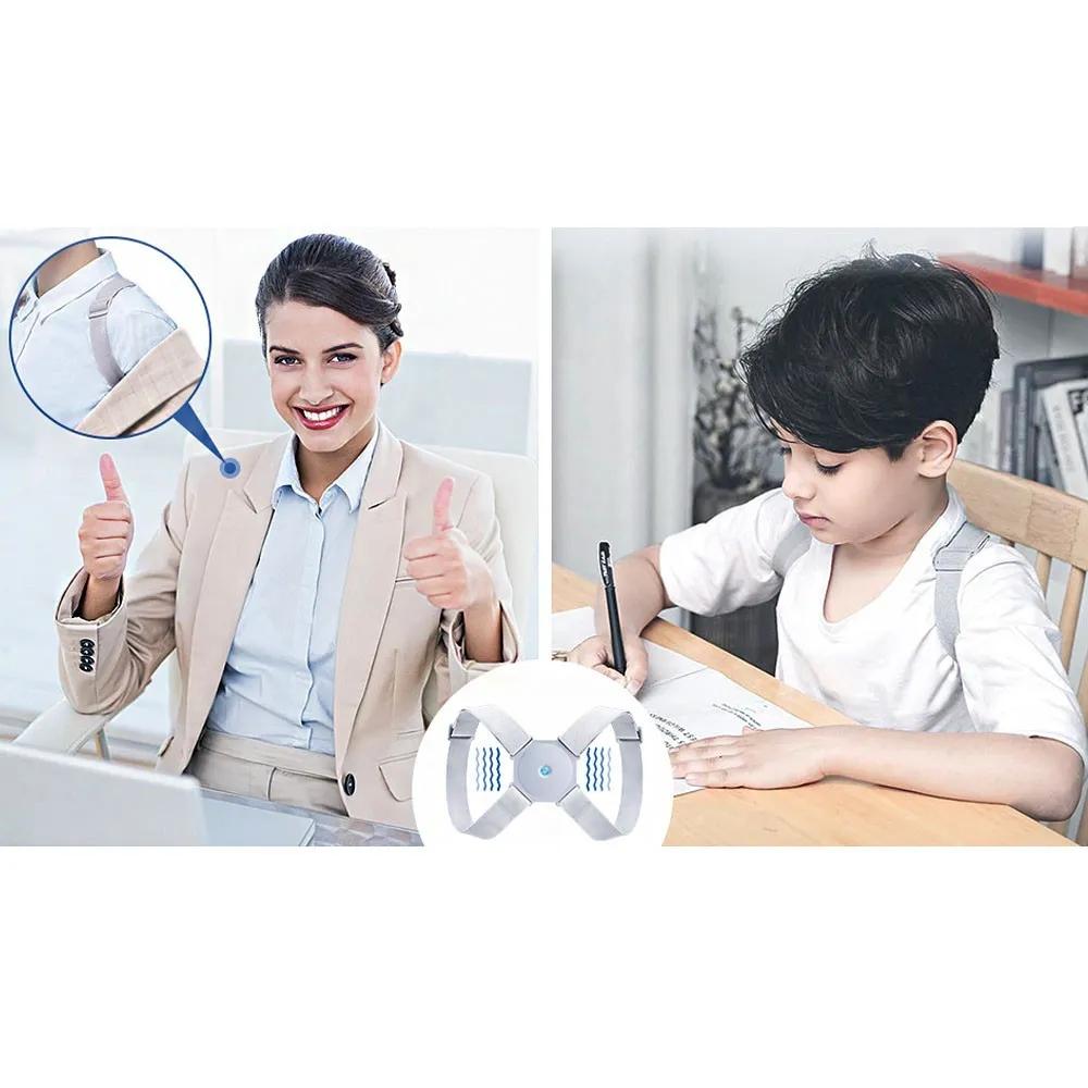 Corretor Postural Inteligente Ajustavel Vibratorio Postura Alinhamento Sensor Cinta Coluna Adulto Criança Costas