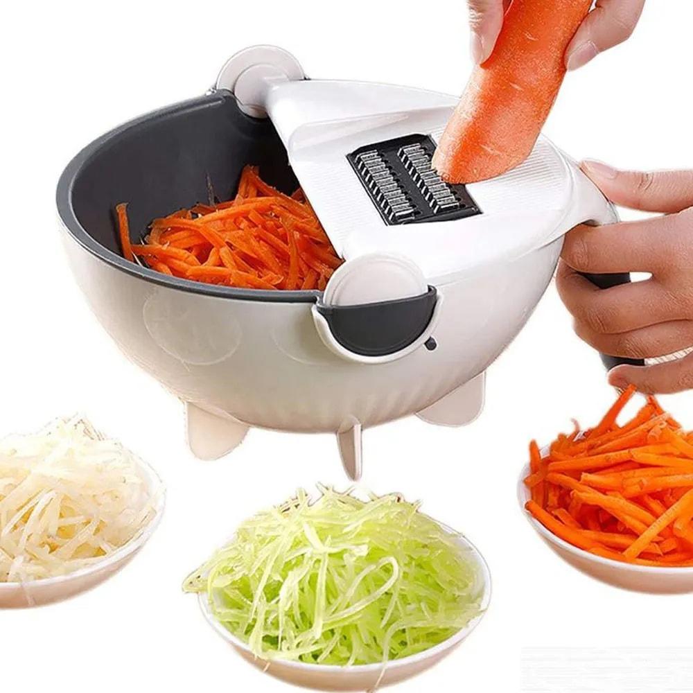 Cortador Fatiador Multifuncional Legumes Salada Frutas Cozinha Alimentos Ralador Escorredor