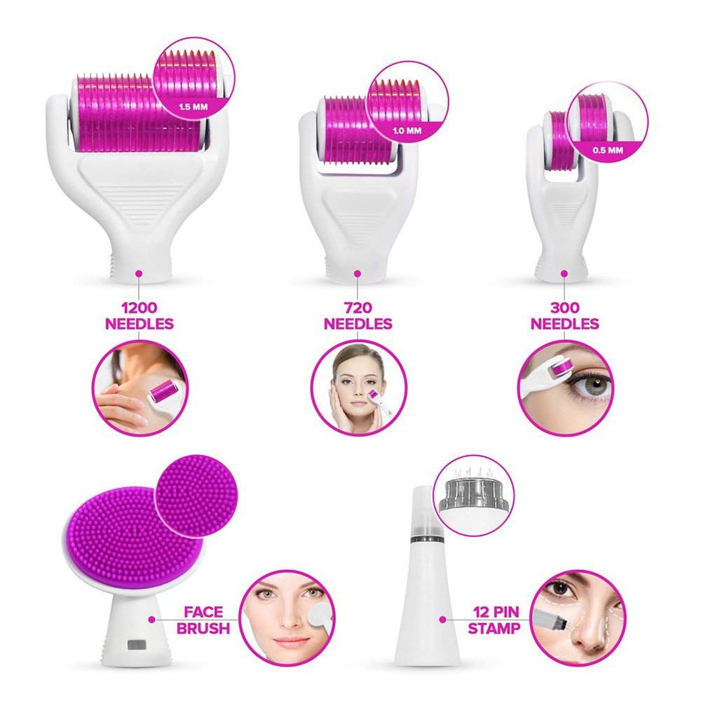 Derma Roller 6 em 1 Skin Care Anti-Envelhececimento tratamento pele Rugas Acne Celulite.