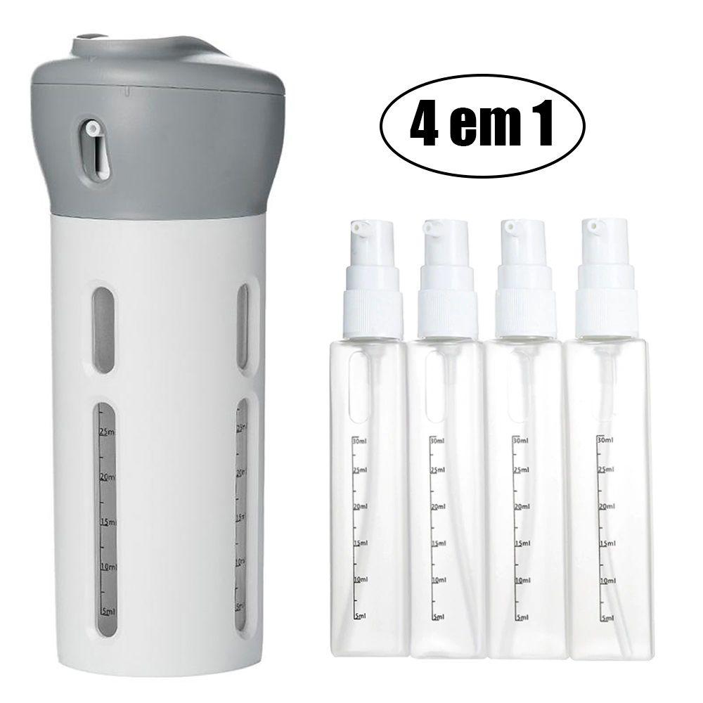 Dispenser Garrafa 4 Em 1 Loção Portátil Shampoo Gel Cremes Cinza Viagens