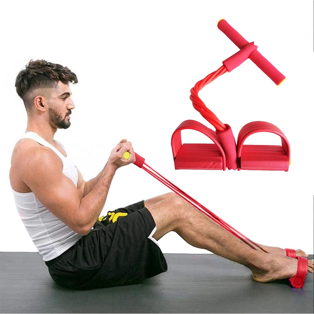 Elastico Extensor 4 tubos Academia Casa treino Peito Braços Pernas e Abdominal cordas Pilates Tonificação exercicio Intensidade