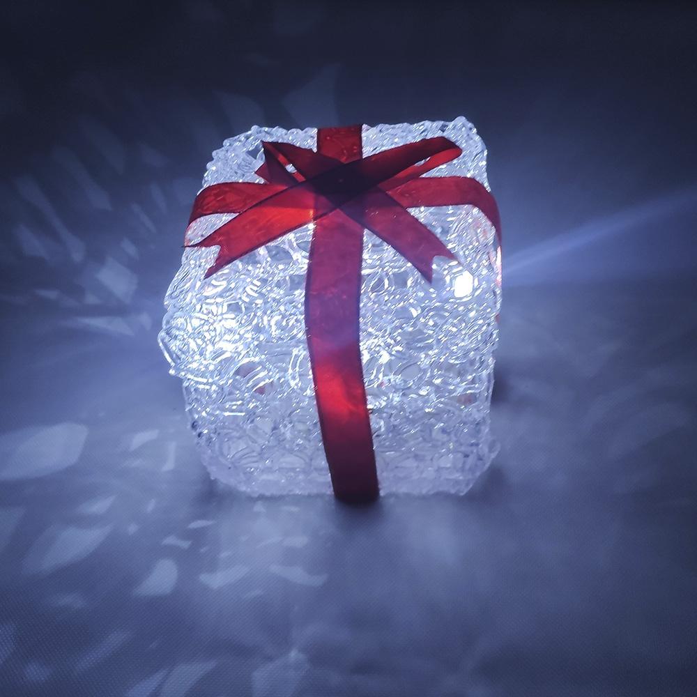 Enfeite Caixa de Presente Iluminado Acrilico 5 Leds Mesa Casa Escritorio