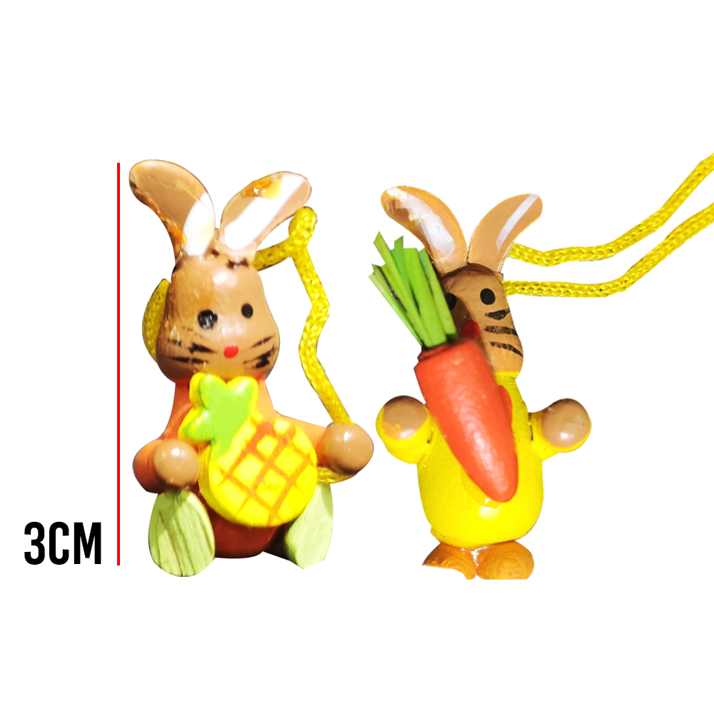 Enfeite de Pascoa Laços Pendurar Ovos Madeira Presentes Mini Artesanal 12 Pecas