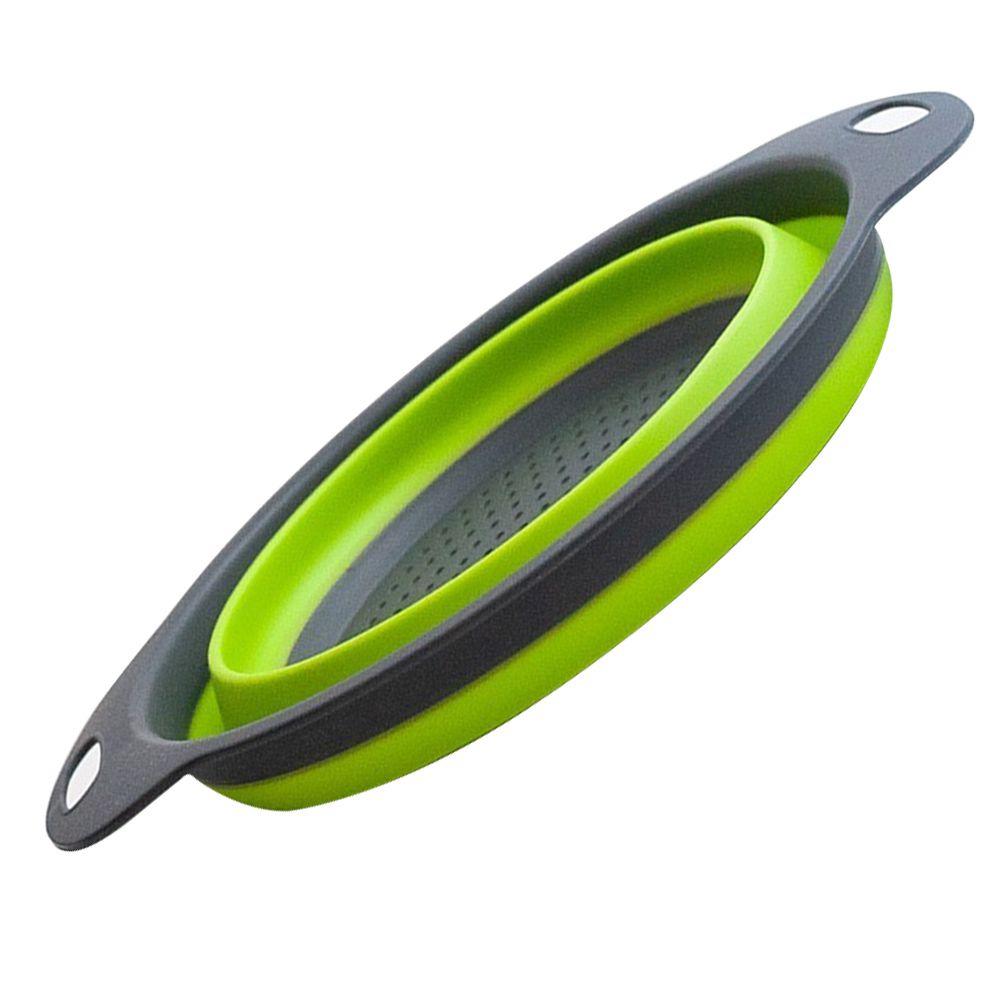 Escorredor Macarrao Silicone Verde Dobravel 30 Cm Vapor Legumes Verduras Cozinha