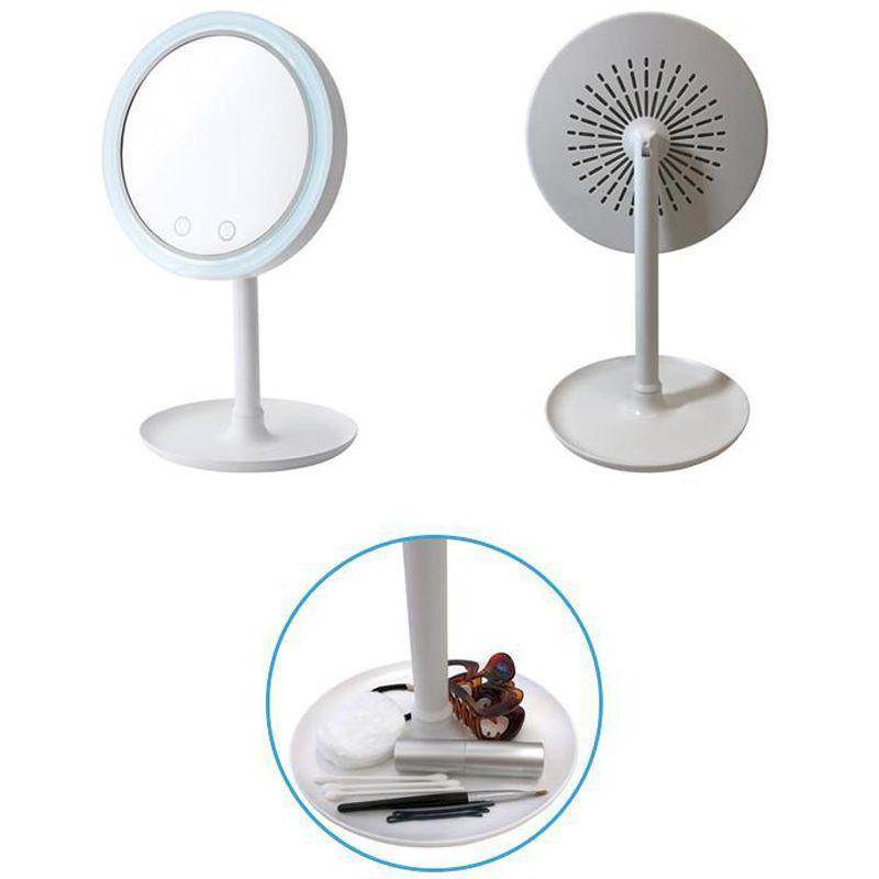 Espelho Maquiagem Led Ventilador Touch 5x Aumento Beleza USB Iluminador