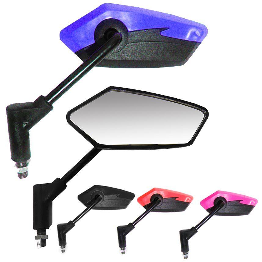 Espelho Par Retrovisor Silver Cores Motoqueiro Moto Serve Em Todas Honda (3185/3181/3191/3193)