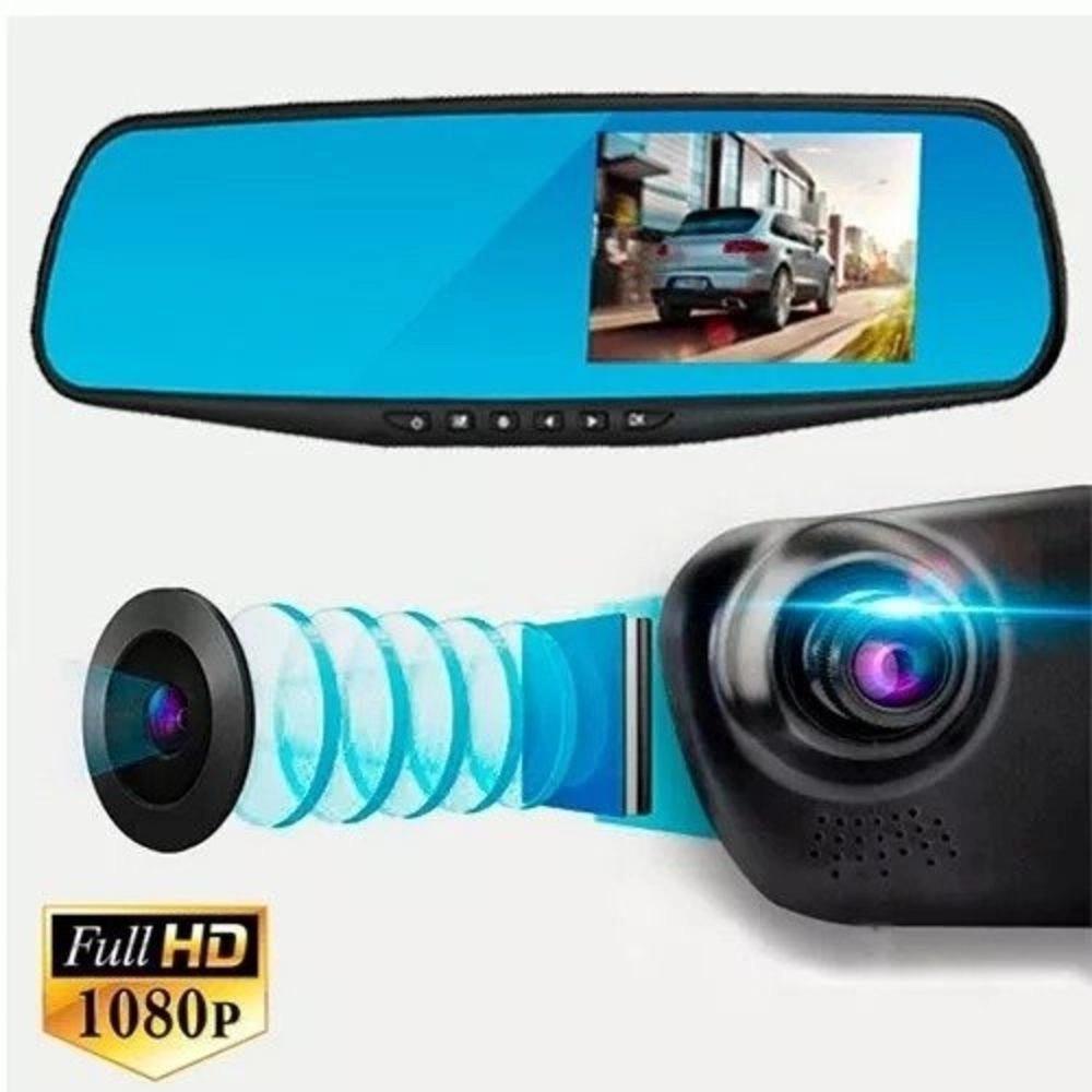 Espelho Retrovisor gravador Câmera Frontal lcd automotivo grava batida Sensor Presença carro condução hd